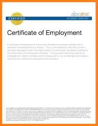 Certificate Of Employment Template Lcysne Com