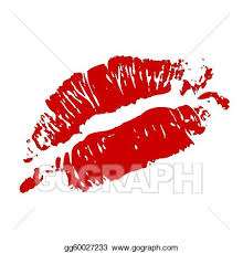 red kiss lips vector clipart drawing