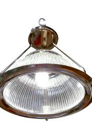 1940s original french glass and aluminum warehouse light fixtures