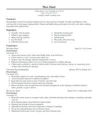 Housekeeping Resume Examples Interesting Housekeeping Resume Sample Kappalab