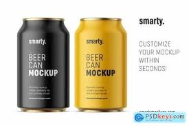 A set of two mockups showing a floating aluminum can (either 330 or 500 ml). 50 Beer Beverage Can Mockup Style Design Candacefaber