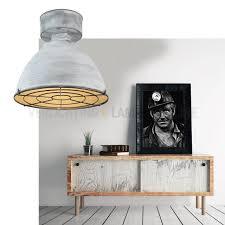 Industriële Plafondlamp Betonlook Met Rooster Kopen