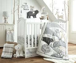 nojo farm babies 5 piece crib bedding set baby bailey charcoal and white woodland themed best