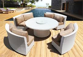 coastal collection cassandra round outdoor wicker dining sofa set patio furniture ethereal white