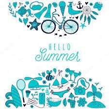 夏の落書きデザイン旅行休暇のイラスト海とビーチのコンセプト