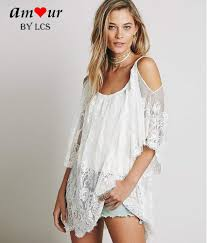 Chic Off Shoulder Sheer Lace Beach Kaftan Tunic Amour Lingerie