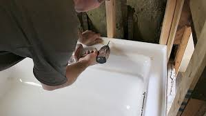 picture of secure tub to studs