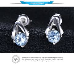 <b>JewelryPalace 1.2ct Round Natural</b> Sky Blue Topaz Stud Earrings ...