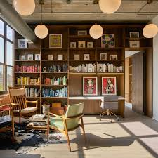 industrial home office furniture. inspiration for an industrial built-in desk light wood floor and gray home office furniture