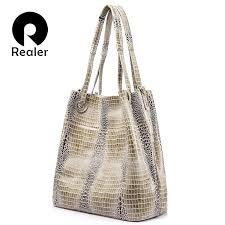 realer brand women genuine leather handbag extra large capacity shoulder bag female fashion serpentine print leather tote bag designer bags las handbags