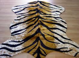 tiger rug faux fur animal skin pelt hide rug 5x7 new