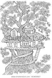 coloring pages coloring pages kids adults tree house stock vector royalty