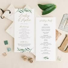 Printable Wedding Program Templates Greenery Wedding Programs Template Printable Wedding Program Etsy