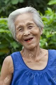 Portrait Old Woman Asia Friendly Senior With Grey Hair Royalty Old Woman With Grey Hair