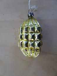 Weihnachtsschmuck Christbaumschmuck Zapfen Kugel Gold 50er