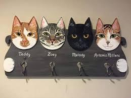 Cat Coat Rack Cat Coat Rack Custom Cat Portraits Coat Rack Wall Coat Rack 4
