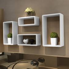 ... Wall Hanging Box Shelves 4 Set Of White Stained Wooden Modern Shelf Wall  Mounted Bookshelves Ikea ...