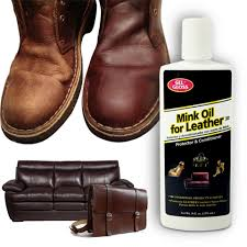 contains a synthetic mink oil blend which res leather couches and chairs boots belts purses briefcases and auto upholstery to its original like