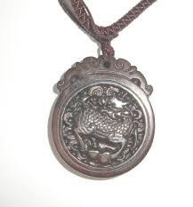 carved dragon scene red jade gemstone pendant larger image