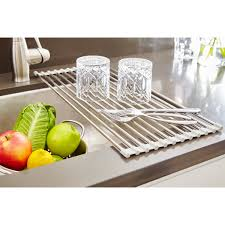 Kitchen Dish Rack Ienjoyware Llc Over The Sink Roll Up Dish Rack Reviews Wayfair