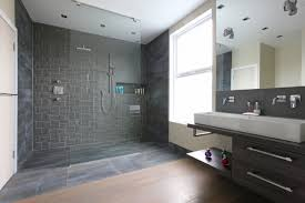 Open Shower with Wall Pattern Idea