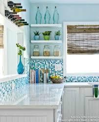 Kitchen Backsplash Ideas Glass Tile Coastal Kitchen With A White Coastal Kitchen Backsplash Ideas