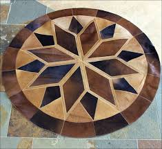 pure brazilian cowhide hair on leather patchwork 3d round rug natural