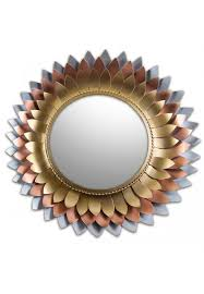 décor s iron metal flower mirror in 3 tone copper color