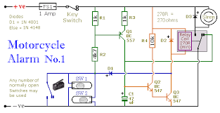 build your own motorcycle alarm circuit diagram of a transistor based motorcycle alarm