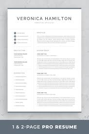 One Page Resume Templates Modern Professional Resume Template 1 And 2 Page Resume Modern