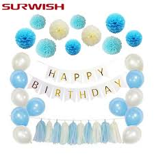 Surwish Handmade Tissue Paper Ball Paper Tassel Garland Happy
