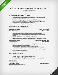 Military Resume Examples For Civilian