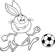 Cute Rabbit Playing Soccer Coloring Page Free Printable Coloring Pages