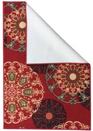 ottomanson ottohome collection contemporary damask design area rug or runner with non slip rubber backing seafoam red brown com