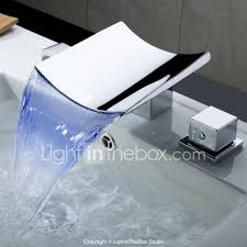 contemporary widespread waterfall led with ceramic valve three holes for chrome bathroom sink faucet 00201653