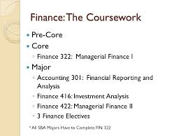 """what can i do a major in accounting finance """" presented by  6 finance the coursework"""