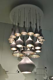 Tom Dixon Milan Salone del Mobile 2014 metal and copper accessories,  furniture and lamps. Pylon table and Mirror Ball lamp