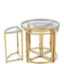 arpeggio round gold glass nesting side table set