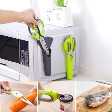 6 In 1 Kitchen Scissors Magnetic Knife Seat Removable <b>Stainless</b> ...