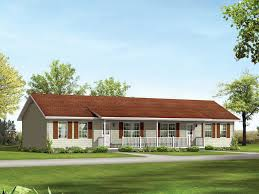 ranch styled multi family plan with a covered front porch