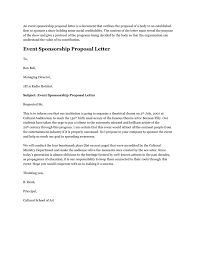Sample Letter For Event Proposal Proposal Letter For Sponsorship Sample For Event Into Anysearch Co
