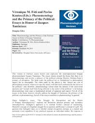 Pdf Review Phenomenology And The Primacy Of The Political