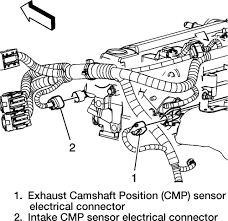 ford truck expedition wd l fi sohc cyl repair guides location of the camshaft position cmp sensor electrical connectors 2 4l engine