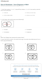 Venn Diagram Practice Sheets Quiz Worksheet Venn Diagrams In Math Study Com