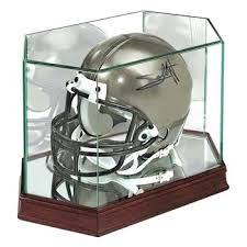 glass football display case full size football helmet display case with glass top mirrored bottom and