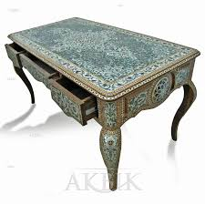 d096 fully inlaid desk with abalone and mother of pearl