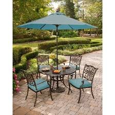small patio table with umbrella hole tempered glass furniture round dining sets set home depot outdoor patios setting wicker garden and chairs
