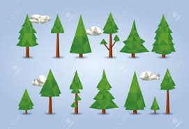 Christmas Backgrounds For Flyers Low Poly Conifer Trees Set For Poster Designs Banners Flyers