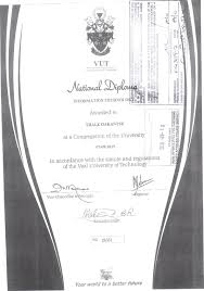 diploma id academic results pdf vut vaai university of technology information technoixm awarded to thale oakantse i •••i