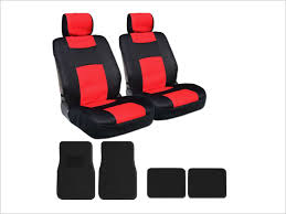 8 piece universal mesh and synthetic leather bucket car truck seat covers with 4 black